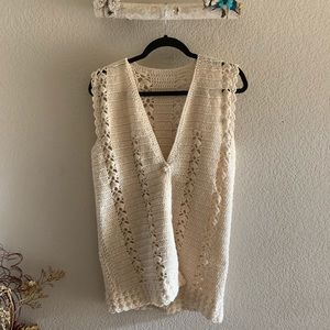 Handmade Vintage Cream Knit Crocheted Vest